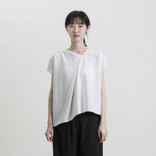 Future Future Asymmetrical Pleated Top_8SF001_White
