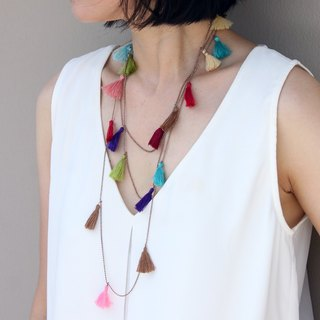 Tassel Necklaces Bead Strand Wrap Layer Long Vivid Color