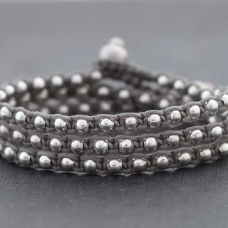 Grey Silver Cotton Waxed Cord Beaded Wrap Men Unisex Bracelets