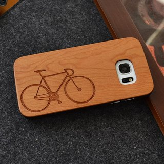 Custom bike personalized laser engraving Samsung S5 / S6 / S7 / S6 edge / S7 edge pure natural wood + green frosted plastic phone shell