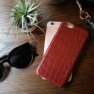 AOORTI :: Apple iPhone 6s / 6s Plus Handcrafted Leather Coat Case / Mobile Shell - Crocodile / Burgundy