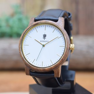 EINBAND Glanz WHITE 40mm Wooden Watch Black Leather Belt