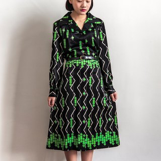 Vintage square game long-sleeved vintage elastic dress