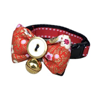 Pet dog collar festive lucky cat bow tie S ~ L