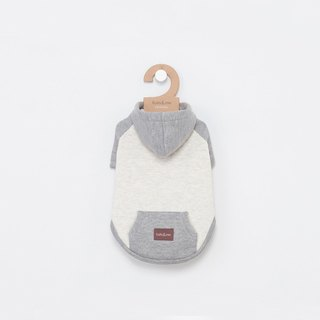 [Tail with me] pet clothing hooded short-sleeved hit color pocket coat gray