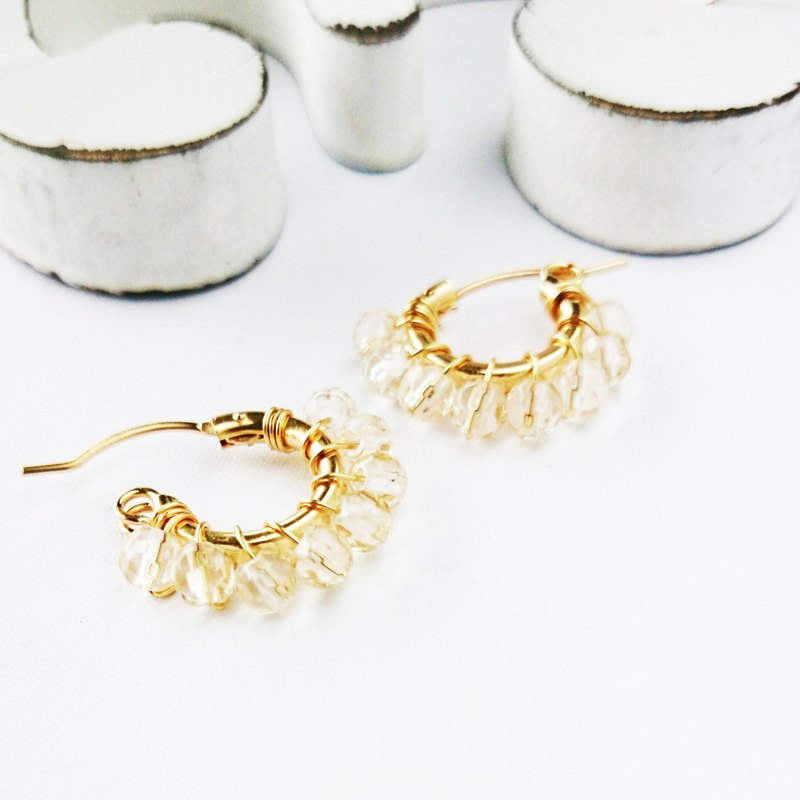 14kgf ♡ AAA champagne color quartz wrapped pierce / earring variable ear 夾式