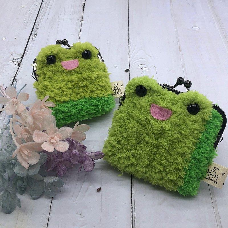 青蛙-毛線編織方塊口金包  零錢包 錢包