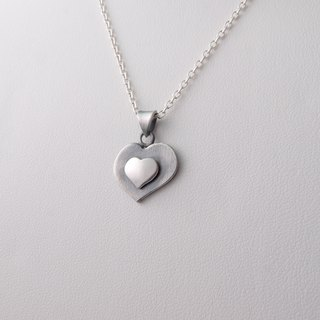 Love each other - silver heart-shaped necklace