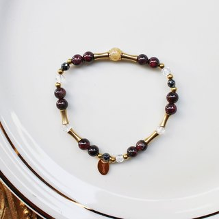<Slow-tempered Natural Stone Series>C1084 Pomegranate Titanium Crystal Bracelet