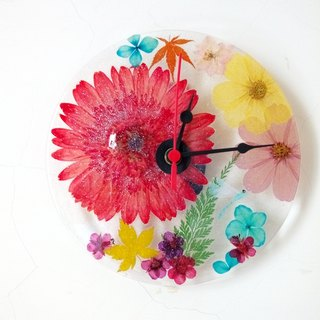Dry Flowers, Pressed Flowers, Flowers Wall Clock, Colorful Clock