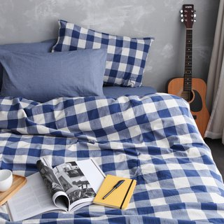 Natural washed quilt cover bed bag pillowcase set - Blue grid x blue
