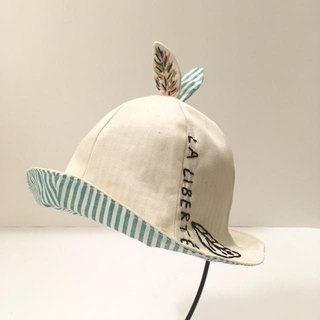 Handmade Tulip hat of the leaf Green stripe