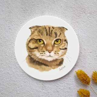 Watercolor Style Pet Portrait Coaster (Scottish Fold)