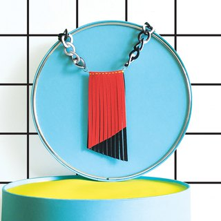 Sonniewing's Geometry Fringe Color Block Leather Necklace