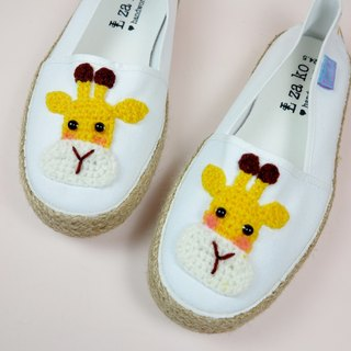 White cotton hand made canvas shoes giraffe models have a woven section