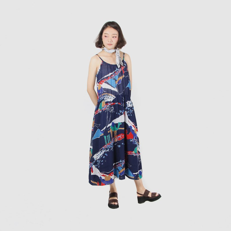 [Egg Plant Vintage] Silk Road Departure Printed Thin Shoulder Strap Vintage Dress