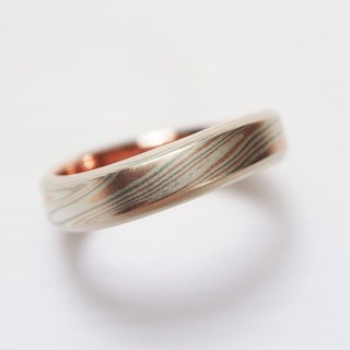 Element47 Jewelry studio~ Karat gold mokume gane wedding ring 17 (14KR/14KW/925)