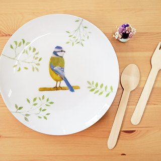 Blue Tit - 8 inch bone china plate / birds / flowers / birthday gift / can be added custom name / microwave / SGS