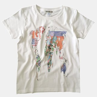 World Map Flag Print T-shirt - White - women's / men's / unisex
