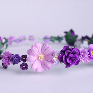 Paper Flower, Bridal flower crown, headband, daisy, roses cherry blossom and creeping lady in purple color.