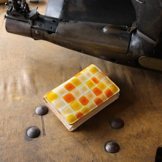 Japan Production Coloring Glass Cowhide Name Single Pouch Name Circumcised Orange made in JAPAN handmade leather card case