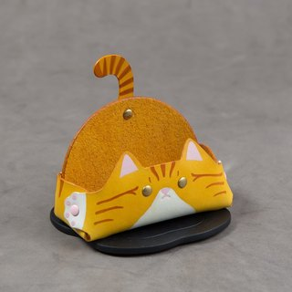 Animal Series - Business Card Holder / Mobile Phone Holder (Wide Edition - Yellow Tabby Cat)