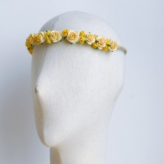 Paper Flower, Headband, medium rose mixed baby breath size. adult size , yellow Color.