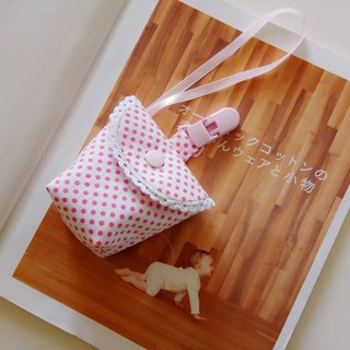 Pink dot cotton lace Miyuki gift nipple storage bag nipple bag + pacifier clip function