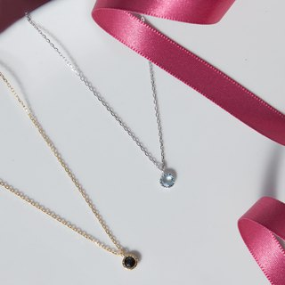 Light Blue Topa small round silver chain - Silver / Rose Gold / 18K gold