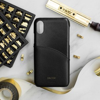 Can be lettering iPhone X 5.8 吋 leather anti-splash phone case - ink black