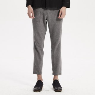 Grey knit raw trousers