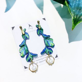 humming earrings - tropical leaves (can change ear clip)
