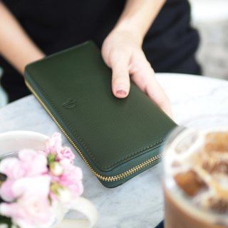 Classic wallet (Green) : Long zip wallet, cow leather