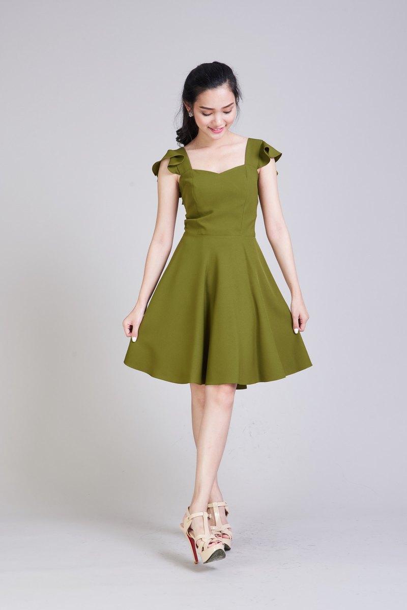 Olive Green Dress Party Dress Summer Dress Sundress Vintage Style Dress Ruffle - Designer ameliadress | Pinkoi