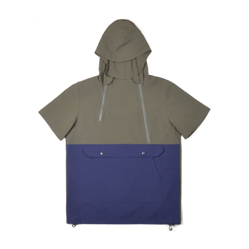 oqLiq - AdHeRe - Double zippered large pocket hooded top (blue and green colorblock)