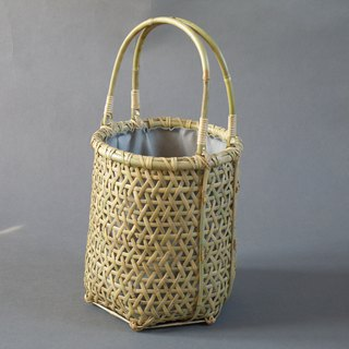 Basket bag Hemi-leaf braided roof bamboo bamboo round shape