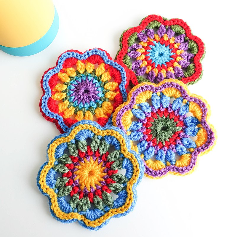 Folk Style Hippie Flower Crochet Coasters (Set of 4) | Camping Picnic Decoration