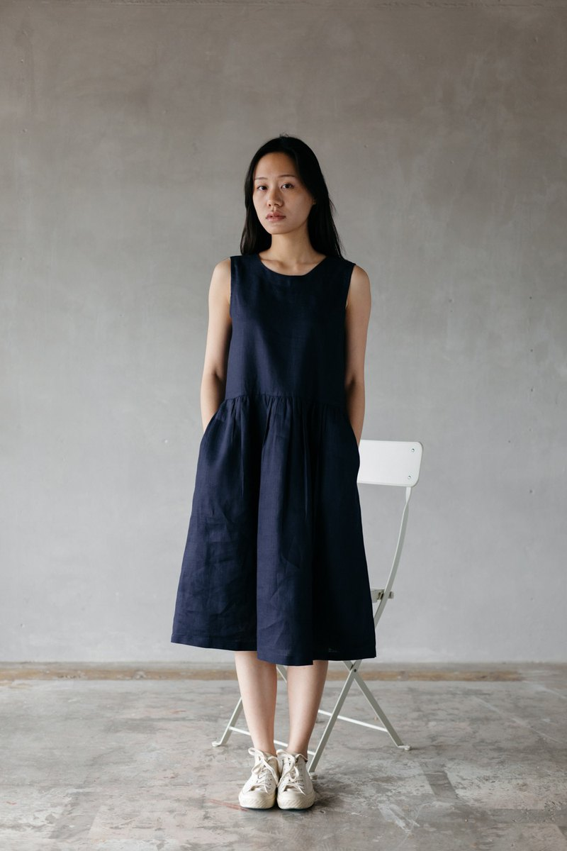 ea9f578215 Linen Camisole dress with open back in Navy - Designer makersgonnamake