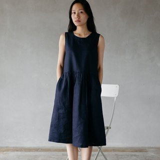 Linen Camisole dress with open back in Navy