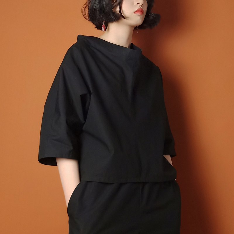 P.YELLOW | Summer raglan sleeve cotton T-shirt /Black/