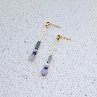 Purple Jade Brass Earrings 1140 - Ladybug
