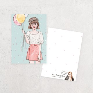 Illustration postcard - balloon girl