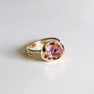 Raw stone ring amethyst brass 18k gold plated adjustable