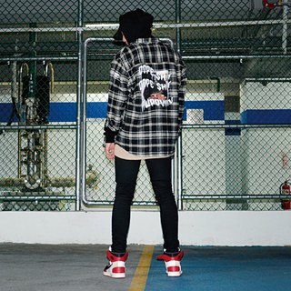 "HWPD│ Black Wanted ""Honey Asia"" Images - Flannel Check Shirt Black (Off-White / Yeezy / Justin Bieber)"
