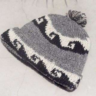 Christmas market limited to a hand-woven pure wool hat / knitted hat / within the bristles wool hand hat / wool cap (made in nepal) - simple color Eastern European marine totem
