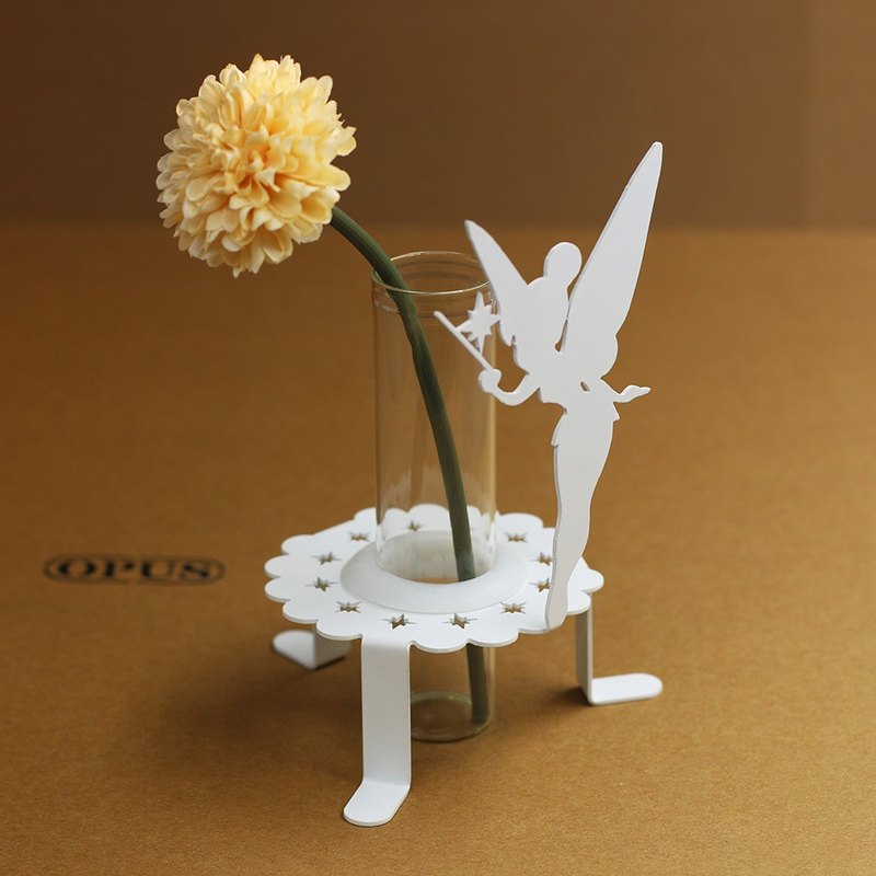 【OPUS Metalart】Light of Spirit - Mini Flower Fairy Inserts Holder (White) / Home Office Shops / Wedding & Desktop Ornaments Arrangements / Small Vase / Bill Collection / Coffee Shop's Decoration / Birthday Gifts / Photo Shoo Props Properties KL-ca0