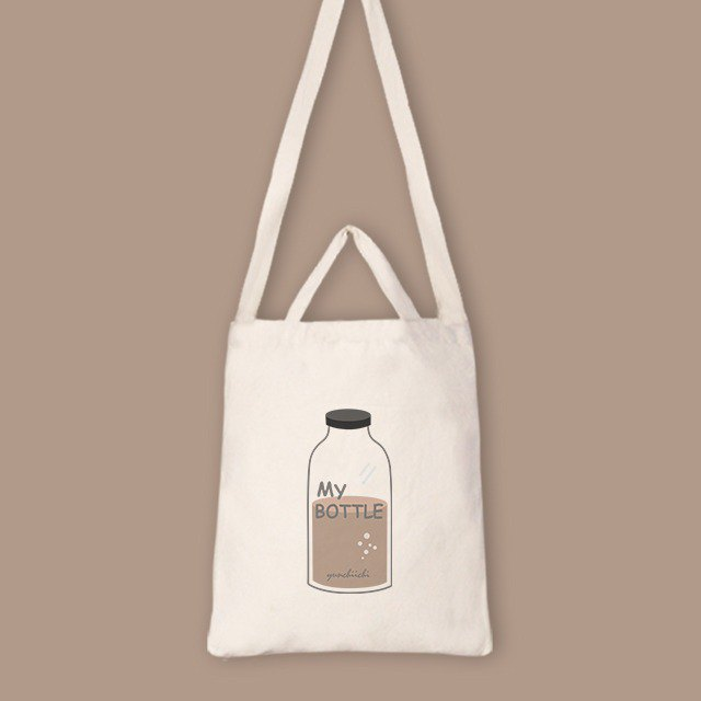 【Custom gifts】 English word MY BOTTLE straight canvas bag 7 colors optional