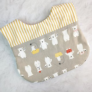 Stylish polar bear. Double-sided bib (up to 40 embroidery name)