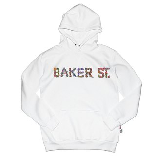 British Fashion Brand [Baker Street]Floral Letters Printed Hoodie