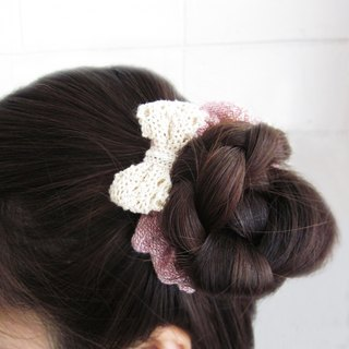 Handmade Donuts with Bow Hair Bands Natural Dyed Cotton  / 6 pcs per 1 set